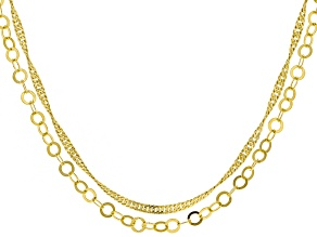 18k Yellow Gold Over Silver Link Chain Necklace Set Of Two
