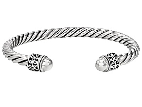 Oxidized Rhodium Over Sterling Silver Hollow Bangle Bracelet 7 inch