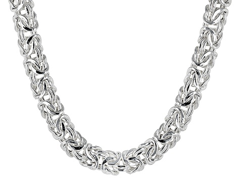 Sterling Silver Hollow Byzantine Necklace 20 inch
