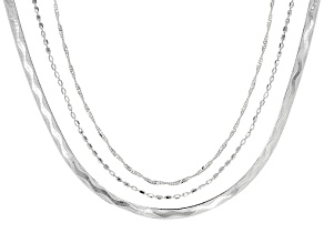 Sterling Silver Ball Herringbone Singapore Sliding Adjustable 24 Inch Chain Necklace Set Of Three