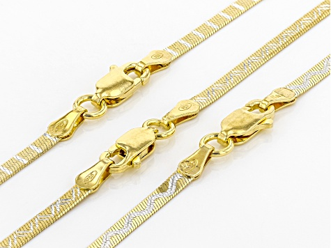 18k Yellow Gold Over Silver Herringbone Chain Necklace 24 inch Set Of Three
