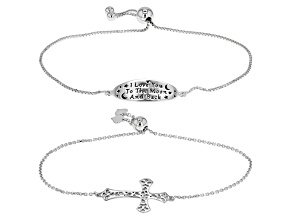 Sterling Silver And Rhodium Over Sterling Silver inspriational Bracelet Set Of 2