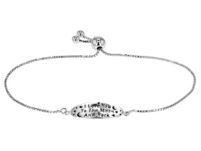 Sterling Silver Oval Script Sliding Adjustable Bracelet