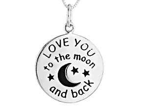 """Sterling Silver """"I Love You To The Moon And Back"""" Script Necklace 18 inch"""