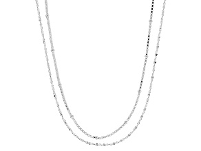 Sterling Silver Box And Serpentine Chain Set 18 inches