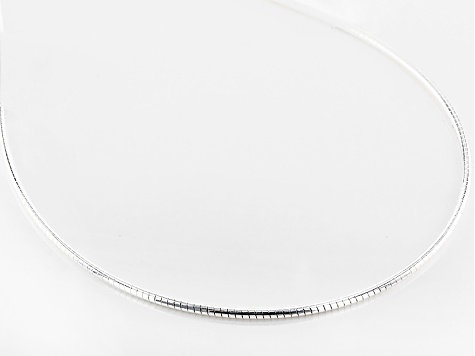Sterling Silver Round Omega Necklace 20 inch
