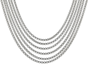 Sterling Silver Box Link Chain Necklace Set 18 inch