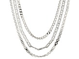 Sterling Silver Bismark, Curb, And Mariner Chain Set 20 inch