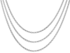 Sterling Silver Popcorn Link Chain Set 18, 20, And 24 inch