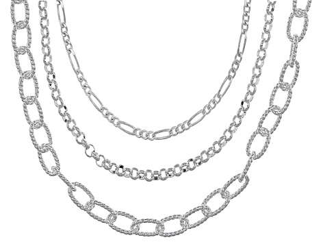 Sterling Silver Figaro, Diamond Cut Cable, And Rolo Link Chain Set 18, 20, 24 inch