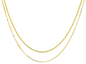 18K YELLOW GOLD OVER SILVER ROUND & SQUARE BOX LINK 24