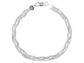 Sterling Silver Diamond Cut Braided Herringbone Bracelet 7.5 inch