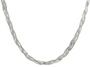 Sterling Silver Diamond Cut Braided Herringbone Necklace 24 inch