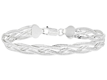 Picture of Sterling Silver Diamond Cut Braided Herringbone Bracelet