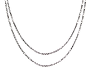 Sterling Silver Diamond Cut Popcorn Link Chain Set 18 And 20 inch