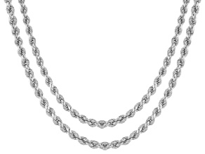 Sterling Silver Rope Link Chain Necklace Set Of Two 20 And 24 inch