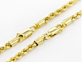18k Yellow Gold Over Silver Rope Link Chain Necklace Set Of Two 20 And 24 inch