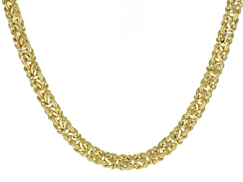 18k Yellow Gold Over Sterling Silver Byzantine Necklace 20 inch
