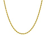 18k Yellow Gold Over Sterling Silver Rope Chain Necklace
