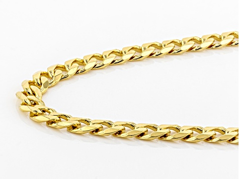 18K yellow gold over sterling silver curb chain necklace