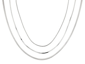 Sterling Silver Oval, Square, And Round Snake Chain Necklace Set 18 Inch