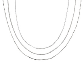 Sterling Silver 1mm Bead, Box, And Anchor Chain Necklace Set 24 Inch