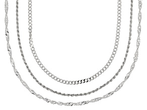 Sterling Silver Singapore, Curb, And Rope Chain Necklace Set 18 inch