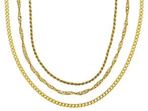 18K Yellow Gold Over Sterling Silver Singapore, Curb, And Rope Chain Necklace Set 18 inch