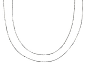 Sterling Silver 0.7mm Snake Chain Necklace Set 18 And 24 Inch