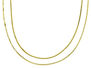 18K Yellow Gold Over Sterling Silver Snake Chain Necklace Set 18 And 24 Inch