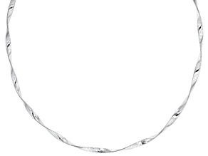 Sterling Silver 4MM Twisted Omega Necklace 18 inch