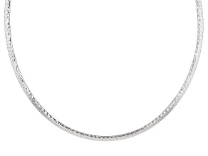 Sterling Silver Reversible Hammered/Polished Omega Necklace 18 inch
