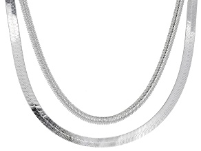 Sterling Silver Flat and Textured Herringbone Necklace Set 18 inch