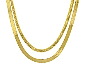18k Yellow Gold Over Sterling Silver Flat and Textured Herringbone Necklace Set 18 inch
