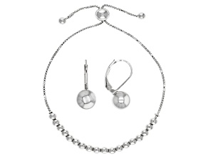 Rhodium over sterling silver adjustable bracelet and earring jewelry set