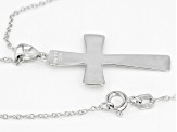 Rhodium over sterling silver inscribed cross pendant with cable chain.