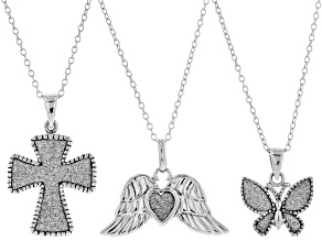 Rhodium Over Sterling Silver Glitter Angel Wing, Butterfly, and Cross Pendant With Chain Jewelry Set