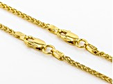 18K Yellow Gold Over Sterling Silver Wheat Chain Necklace Set