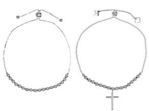 Sterling Silver Bead & Bead With Dangle Cross Adjustable Bracelet Set