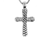 Oxidized Sterling Silver Etched Cross Pendant With 18 Inch Popcorn Chain