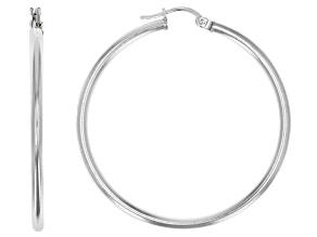Rhodium Over Sterling Silver 40MM Tube Hoop Earrings