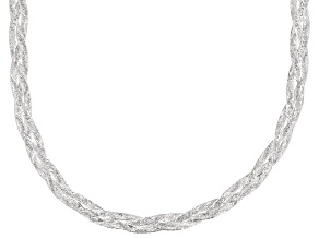 Sterling Silver Braided Diamond Cut Herringbone Necklace 18