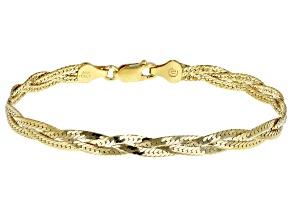 18k Yellow Gold Over Silver Braided Diamond Cut Herringbone Bracelet 7.25 Inch
