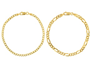 18K Yellow Gold Over Sterling Silver Curb & Figaro Bracelet Set of 2