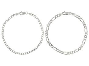Sterling Silver Curb & Figaro Bracelet Set
