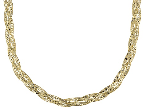 18K Yellow Gold Over Silver Braided Diamond Cut Herringbone Necklace 18 Inch