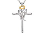 Rhodium & 14k Yellow Gold Over Sterling Silver Diamond Accent Cross Pendant With 18 Inch Rope Chain