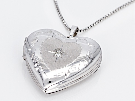 Rhodium Over Sterling Silver Diamond Accent Heart Locket With Chain