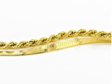 18K Yellow Gold Over Sterling Silver Rope & Herringbone Bracelet Set