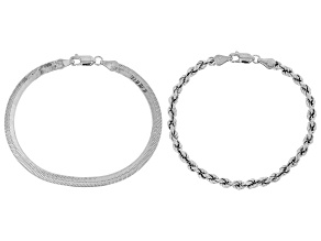 Sterling Silver Rope & Herringbone Bracelet Set